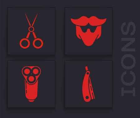 Set Straight razor, Scissors hairdresser, Mustache and beard and Electric razor blade for men icon. Vector