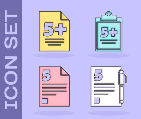 Set Test or exam sheet and pen icon. Vector