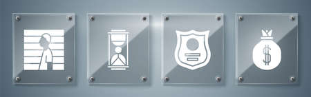 Set Money bag, Police badge, Old hourglass with sand and Suspect criminal. Square glass panels. Vector