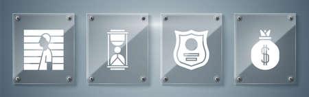 Set Money bag, Police badge, Old hourglass with sand and Suspect criminal. Square glass panels. Vector Vektorové ilustrace