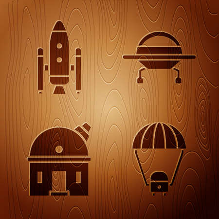Set Space capsule and parachute, Space shuttle and rockets, Astronomical observatory and UFO flying spaceship on wooden background. Vector