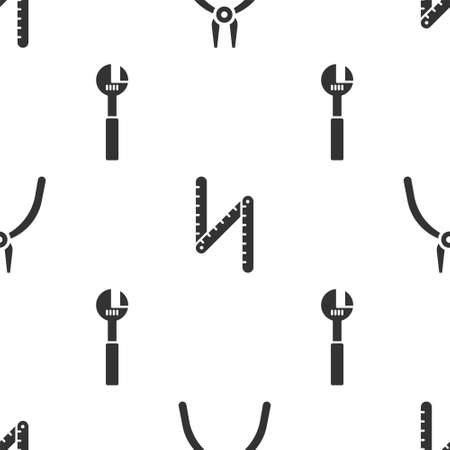 Set tool, Folding ruler and Adjustable wrench on seamless pattern. Vector
