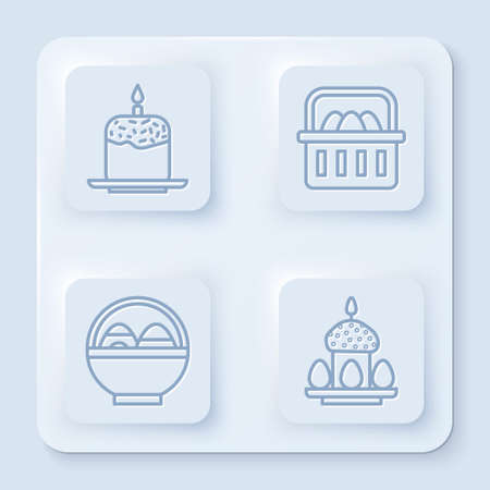 Set line Easter cake and candle, Basket with easter eggs, Basket with easter eggs and Easter cake and eggs. White square button. Vector