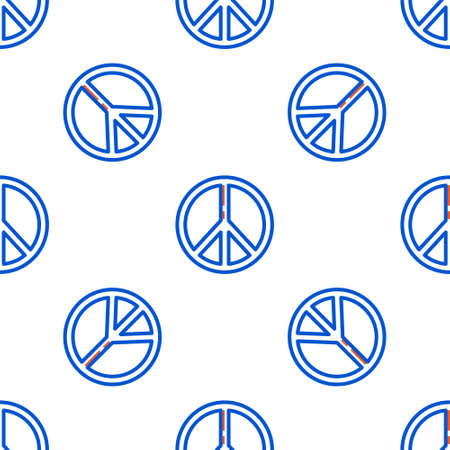 Line Peace icon isolated seamless pattern on white background. Hippie symbol of peace. Colorful outline concept. Vector
