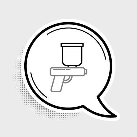 Line Paint spray gun icon isolated on grey background. Colorful outline concept. Vector