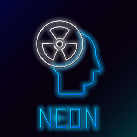 Glowing neon line Silhouette of a human head and a radiation symbol icon isolated on black background. Colorful outline concept. Vector Иллюстрация