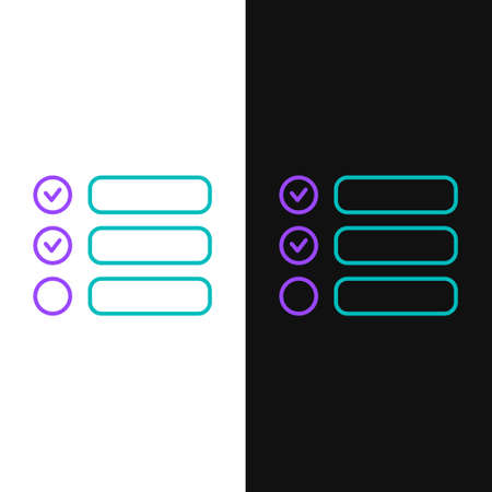 Line Task list icon isolated on white and black background. Control list symbol. Survey poll or questionnaire feedback form. Colorful outline concept. Vector
