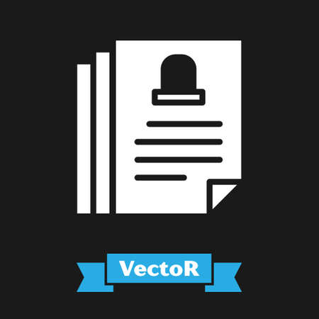 White Death certificate icon isolated on black background. Vector