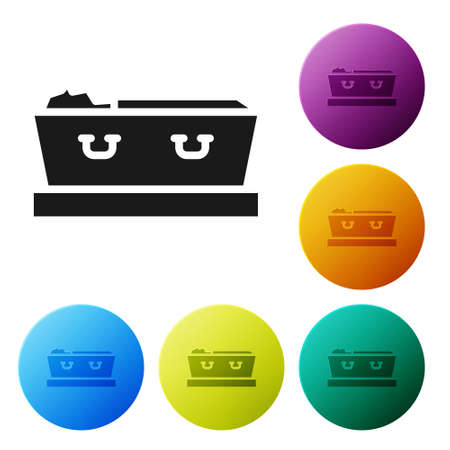 Black Open coffin with dead deceased body icon isolated on white background. Funeral after death. Corpse in an open hearse for burial. Set icons in color circle buttons. Vector
