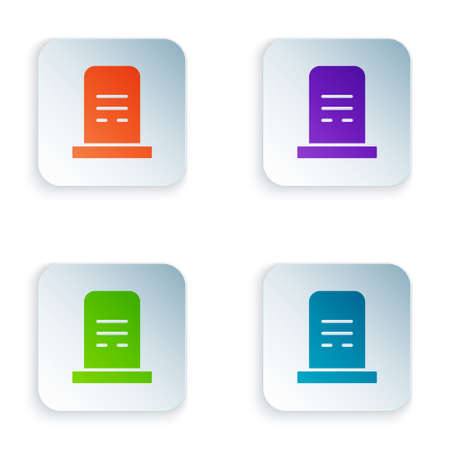 Color Grave with tombstone icon isolated on white background. Set colorful icons in square buttons. Vector