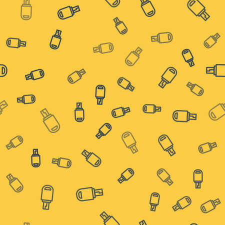 Blue line USB flash drive icon isolated seamless pattern on yellow background. Vector Illustration