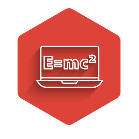 White line Math system of equation solution on laptop icon isolated with long shadow. E equals mc squared equation on computer screen. Red hexagon button. Vector