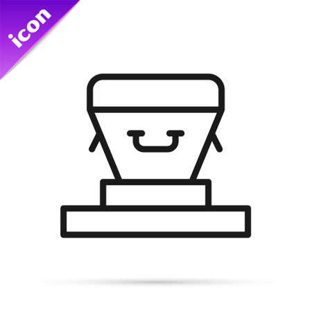 Black line Coffin icon isolated on white background. Funeral ceremony. Vector