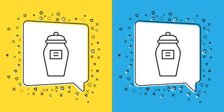 Set line Funeral urn icon isolated on yellow and blue background. Cremation and burial containers, columbarium vases, jars and pots with ashes. Vector