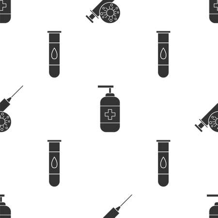 Set Syringe and virus, Bottle of liquid antibacterial soap and Blood test and virus on seamless pattern. Vector