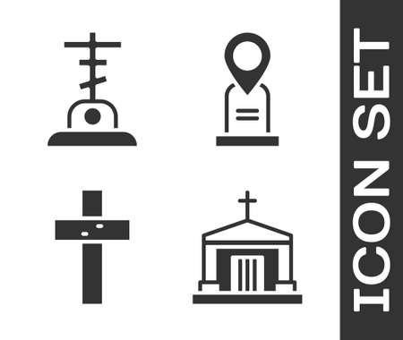 Set Old crypt, Grave with cross, Christian cross and Location grave icon. Vector