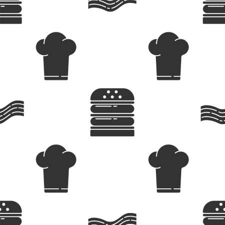 Set Bacon stripe, Burger and Chef hat on seamless pattern. Vector