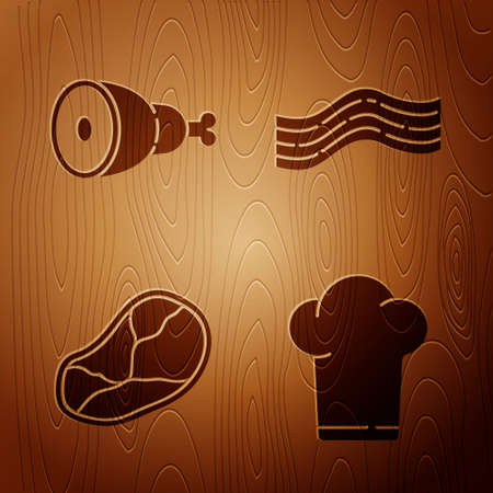 Set Chef hat, Chicken leg, Steak meat and Bacon stripe on wooden background. Vector