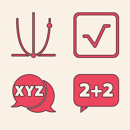 Set Equation solution, Graph, schedule, chart, diagram, Square root and XYZ Coordinate system icon. Vector