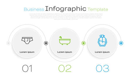 Set line Underwear, Bathtub and Perfume. Business infographic template. Vector