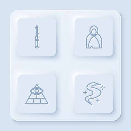 Set line Magic wand, Mantle, cloak, cape, Masons and fog or smoke. White square button. Vector