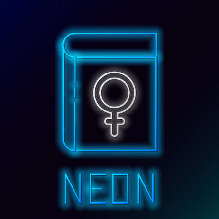 Glowing neon line Book about women icon isolated on black background. 8 March. International Happy Women Day. Colorful outline concept. Vector