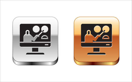 Black Online education and graduation icon isolated on white background. Online teacher on monitor. Webinar and video seminar learning. Silver-gold square button. Vector Illustration