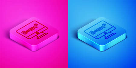 Isometric line Math system of equation solution on computer monitor icon isolated on pink and blue background. E equals mc squared equation on computer screen. Square button. Vector
