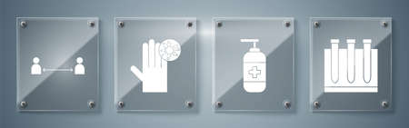 Set Blood test and virus, Bottle of liquid antibacterial soap, Hand with virus and Safe distance. Square glass panels. Vector