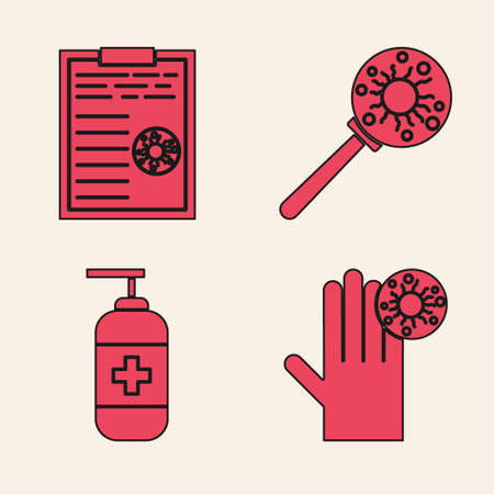Set Hand with virus, Clipboard with blood test results, Virus under magnifying glass and Bottle of liquid antibacterial soap icon. Vector Illustration