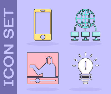 Set Light bulb with concept of idea, Mobile phone, Online education and Computer network icon. Vector