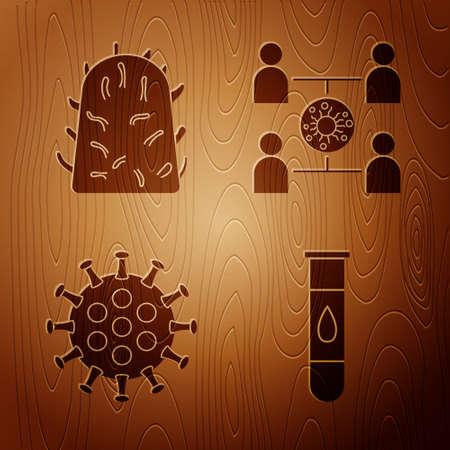 Set Blood test and virus, Rabies virus, Virus and Virus spread on wooden background. Vector Illustration