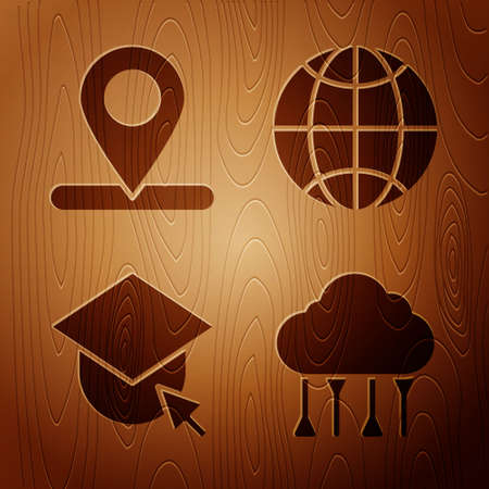 Set Network cloud connection, Location, Graduation cap on globe and Social network on wooden background. Vector
