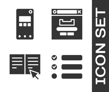 Set Task list, Mobile phone, Online book and Browser window icon. Vector
