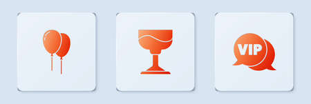 Set Cocktail, Balloons with ribbon and Vip in speech bubble. White square button. Vector