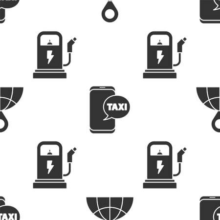 Set Location on the globe, Taxi call telephone service and Electric car charging station on seamless pattern. Vector