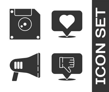 Set Dislike in speech bubble, Floppy disk for computer data storage, Megaphone and Like and heart icon. Vector Illusztráció