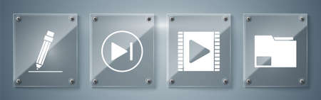 Set Document folder, Play Video, Fast forward and Pencil with eraser. Square glass panels. Vector