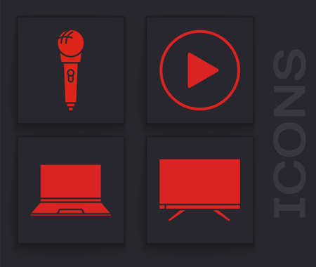 Set Smart Tv, Microphone, Play in circle and Laptop icon. Vector