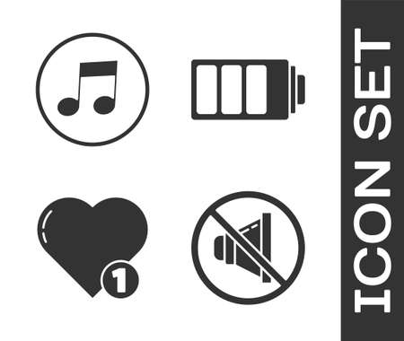 Set Speaker mute, Music note, tone, Like and heart and Battery charge level indicator icon. Vector Illusztráció