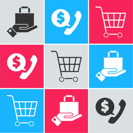 Set Hand and paper shopping bag, Telephone handset and speech bubble chat and Shopping cart icon. Vector