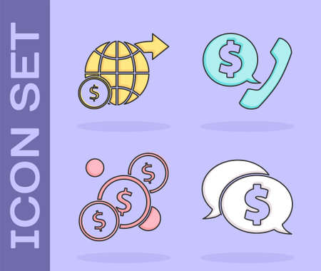 Set Speech bubble with dollar, Earth globe with dollar, Coin money with dollar and Telephone handset and speech bubble chat icon. Vector