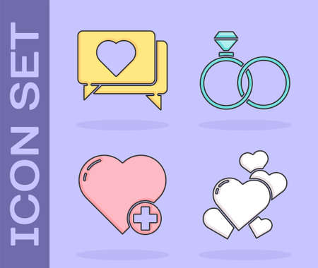 Set Heart, Like and heart, Heart and Wedding rings icon. Vector