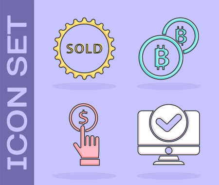 Set Computer monitor, Sold label, Hand holding coin and Cryptocurrency coin Bitcoin icon. Vector Illusztráció
