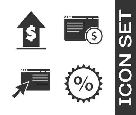 Set Discount percent tag, Financial growth and coin, Online shopping on screen and Online shopping on screen icon. Vector Illusztráció
