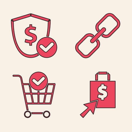 Set Shopping bag and dollar, Shield with dollar, Chain link and Shopping cart with check mark icon. Vector