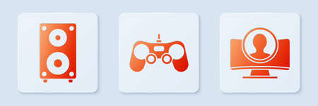 Set Gamepad, Stereo speaker and Create account screen. White square button. Vector Illusztráció