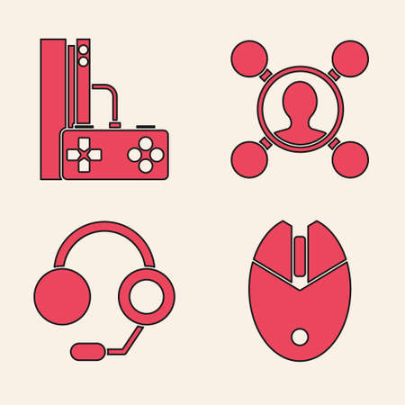 Set Computer mouse gaming, Game console with joystick, Share and Headphones icon. Vector