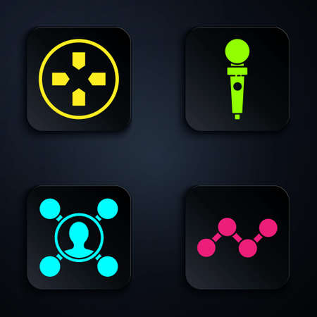 Set Share, Gamepad, Share and Joystick for arcade machine. Black square button. Vector