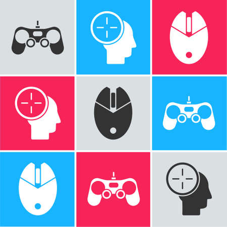 Set Gamepad, Head hunting concept and Computer mouse gaming icon. Vector